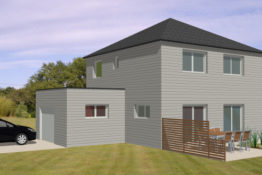 plan maison ossature bois contemporaine etage garage modele emeline becokit